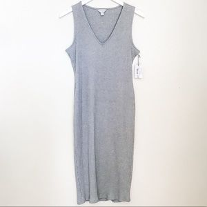 Grey Ribbed V-neck Midi Dress